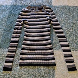 Black, White & Gray Long Striped Sweater